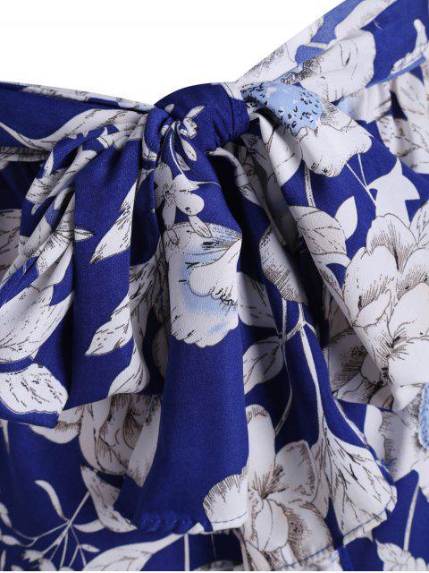 combinaison à motif floral et à col plogeant - Bleu L Mobile