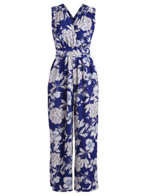 outfit Multiway Floral Wide Leg Palazzo Jumpsuit - BLUE L Mobile