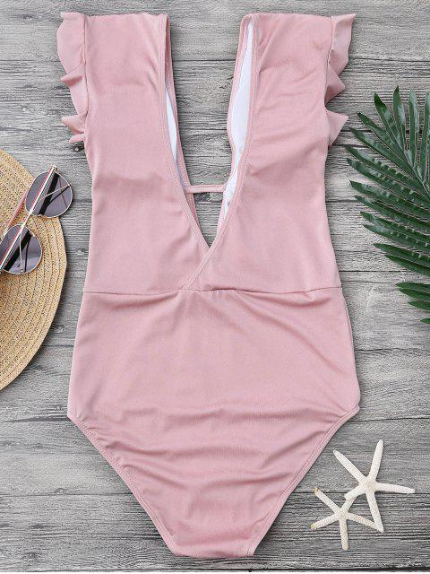 shop Frilled Plunge One Piece Swimsuit - PINK M Mobile