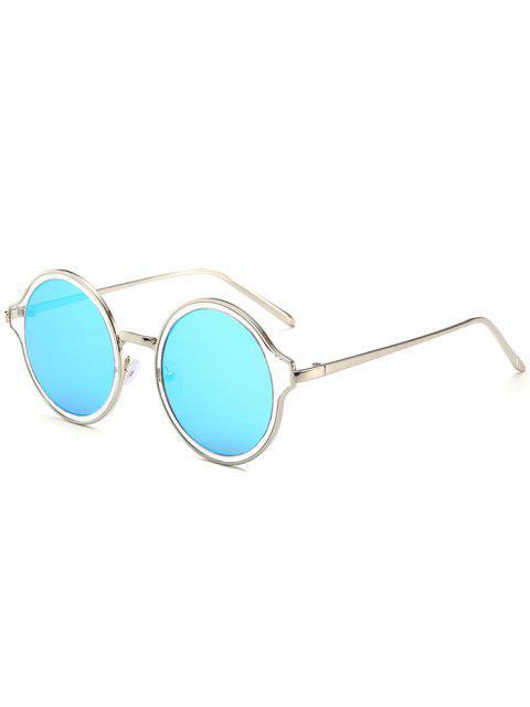 Metallrahmen Runde verspiegelte Sonnenbrille - Silberer Rahmen + Blaue Linse  Mobile