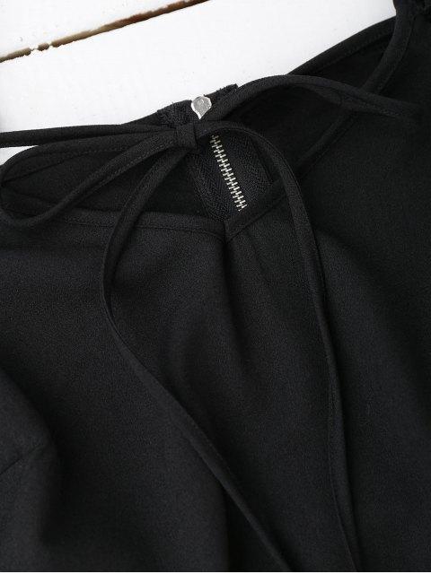 Top court à épaules dénudées avec falbalas - Noir L Mobile