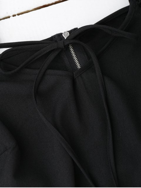 Top court à épaules dénudées avec falbalas - Noir S Mobile