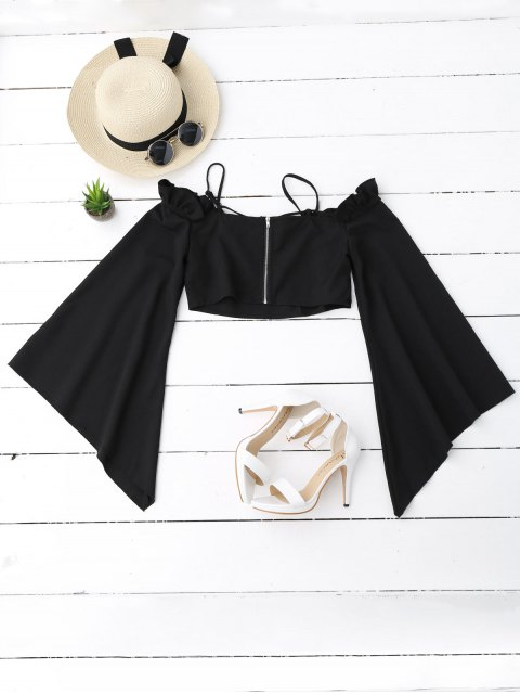 women's Ruffles Cropped Cold Shoulder Top - BLACK S Mobile