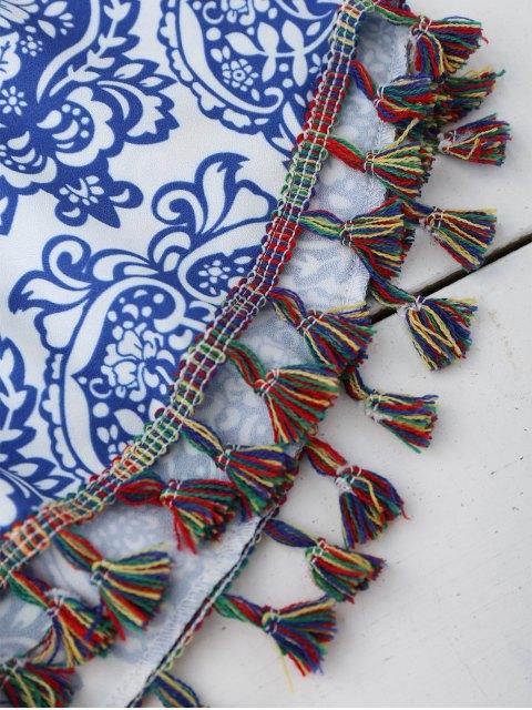 Shorts imprimés à brosse ethnique - Bleu et Blanc XL Mobile
