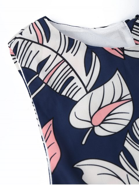 Haut court imprimé feuille graphique et zippé arrière - Floral XL Mobile