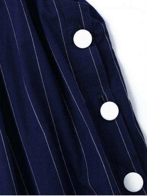 unique Side Button Up Stripes Mini Dress - STRIPE S Mobile