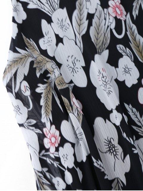 sale High Neck Floral A-Line Mini Dress - FLORAL 2XL Mobile