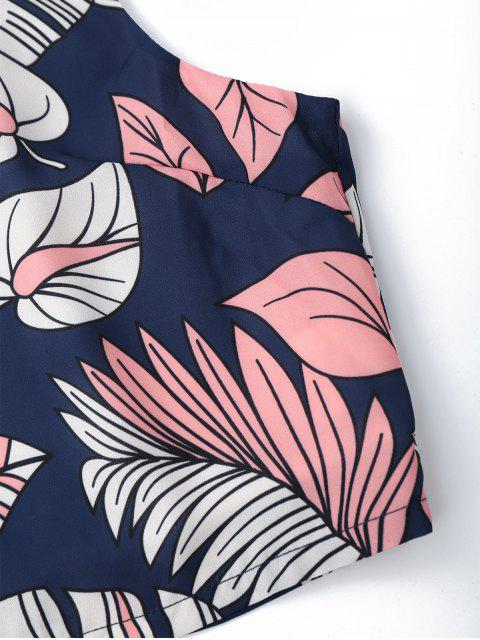 ladies Back Zipper Leaves Graphic Crop Top - FLORAL S Mobile