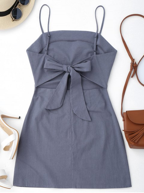 outfits High Cut Bowknot Mini Slip Dress - GRAY XL Mobile