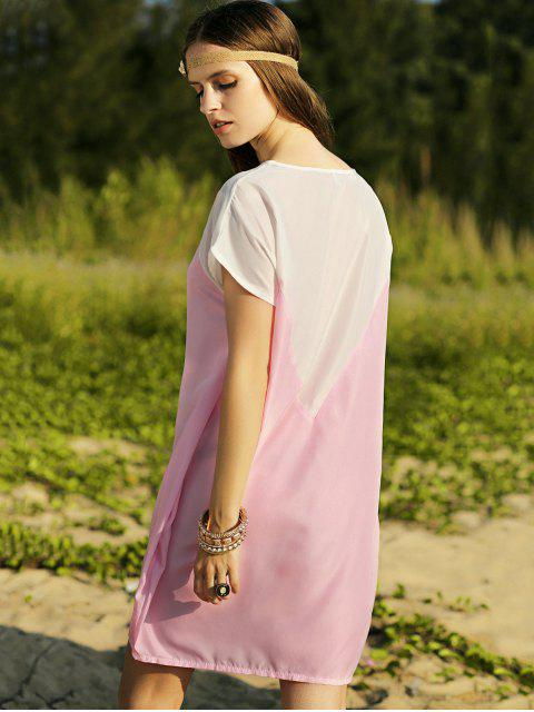 trendy Batwing Sleeve Two-Tone Dress - PINK M Mobile