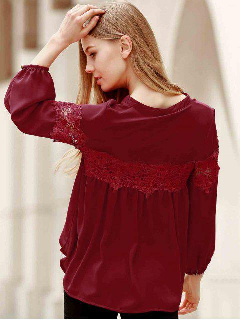 trendy Lace Splicing V Neck Lantern Sleeve Blouse - RED M Mobile