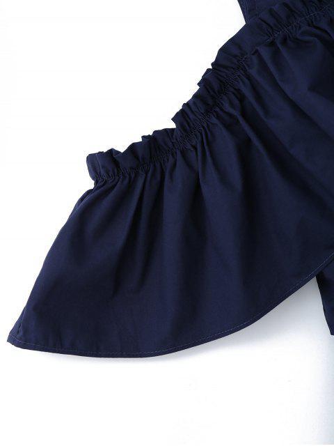 trendy Half Button Ruffles Cold Shoulder Romper - PURPLISH BLUE L Mobile