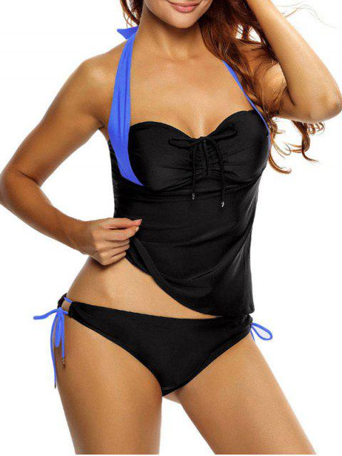 unique Tankini Top and Loop Tie Side Bottoms - BLUE AND BLACK XL Mobile