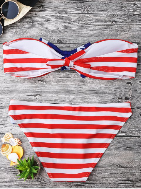 hot Bow American Flag Patriotic Bandeau Bikini Set - RED AND WHITE AND BLUE S Mobile