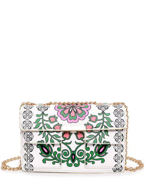 shops Chain Floral Print Crossbody Bag - WHITE  Mobile