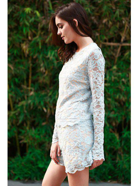 women's Lace Round Neck Long Sleeve T-Shirt and Shorts Suit - BLUE S Mobile