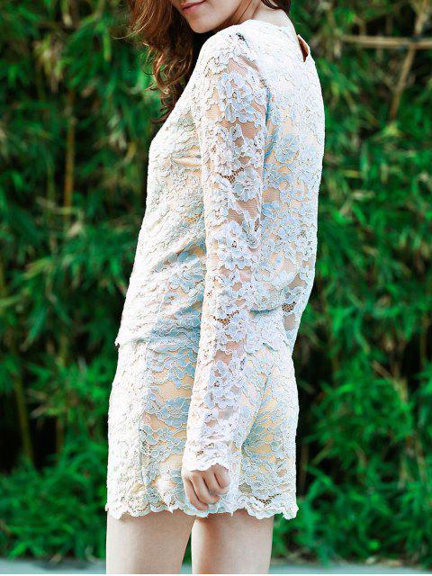 Lace Round Neck Langarm T-Shirt und Shorts Anzug - Blau S Mobile