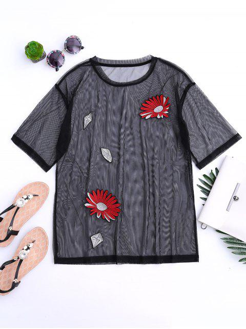 outfits See Through Mesh Embroidered Top - BLACK L Mobile