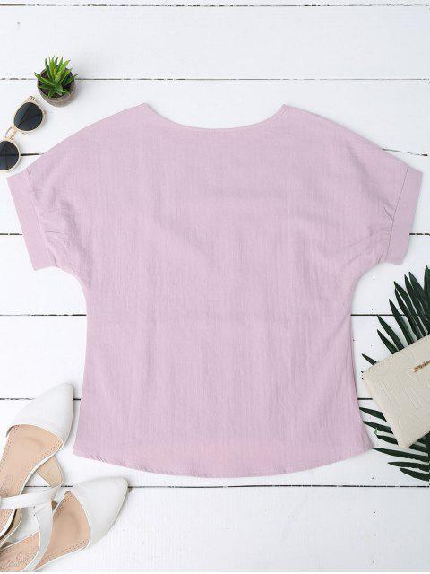 trendy Floral Embroidered Linen Blend Top - PINK XL Mobile