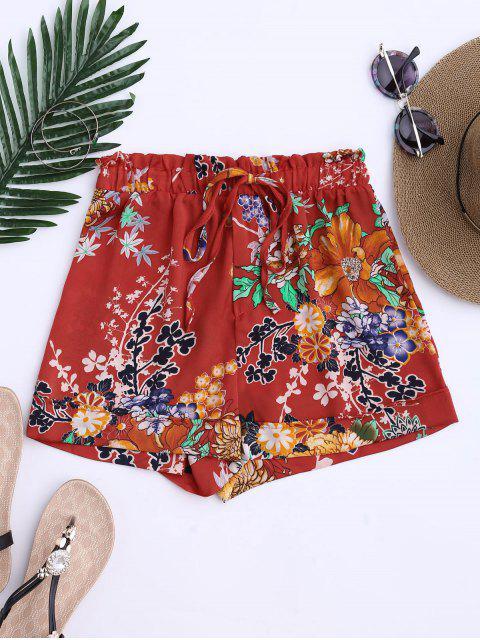 Shorts  à cordes à motif floral bohémien - Tangerine L Mobile