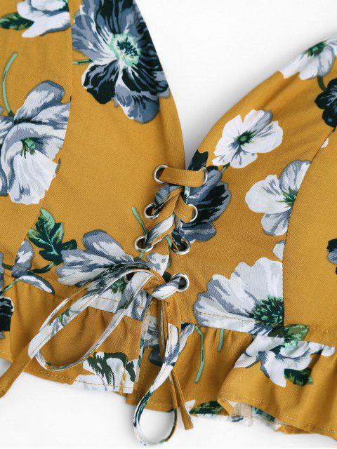 Pantalons à encolure découpés floraux et à lacets - Floral XL Mobile