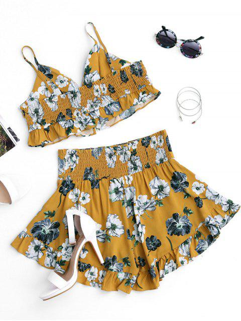 women's Floral Ruffles Cropped Lace Up Top and Smocked Shorts - FLORAL L Mobile
