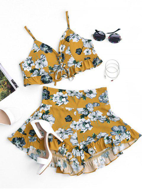 lady Floral Ruffles Cropped Lace Up Top and Smocked Shorts - FLORAL S Mobile