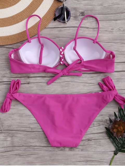 womens Underwire Braided Molded Cup Bikini Set - ROSE M Mobile