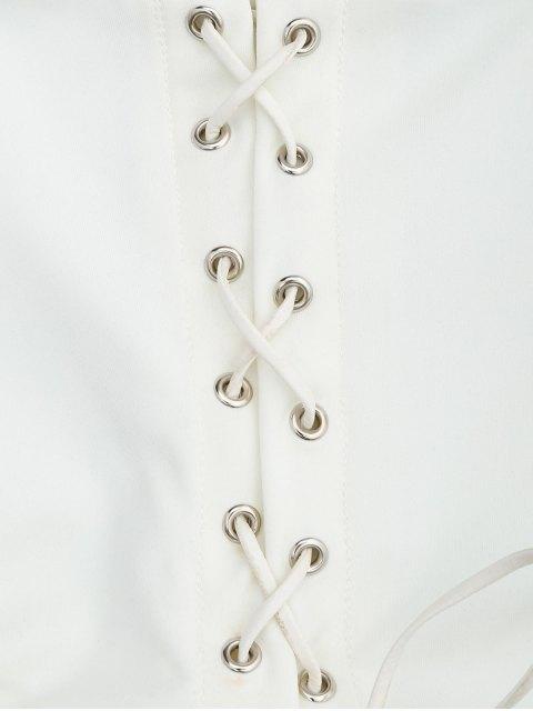 Débardeur court à lacets croisés hauts - Blanc XL Mobile