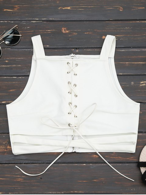 hot Criss Cross Cropped Lace Up Tank Top - WHITE S Mobile
