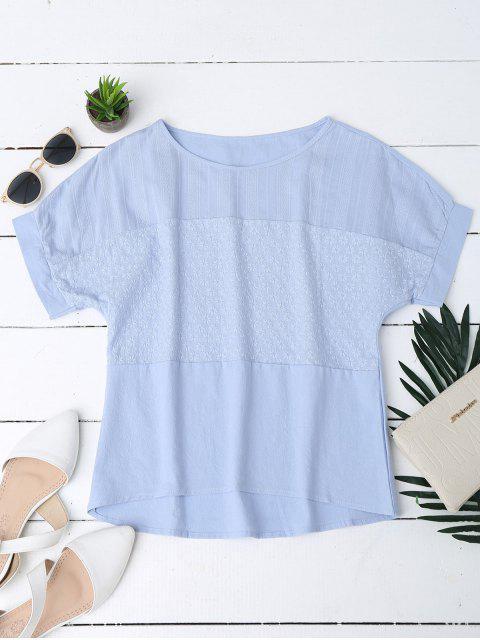 trendy Floral Embroidered Linen Blend Top - BLUE M Mobile