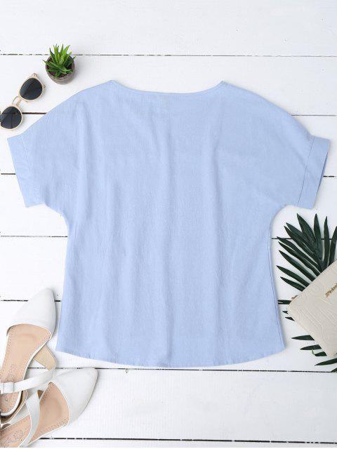 fashion Floral Embroidered Linen Blend Top - BLUE S Mobile