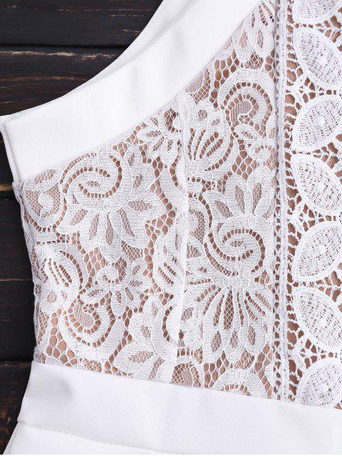 lady Sleeveless Lace Halter Romper - WHITE ONE SIZE Mobile