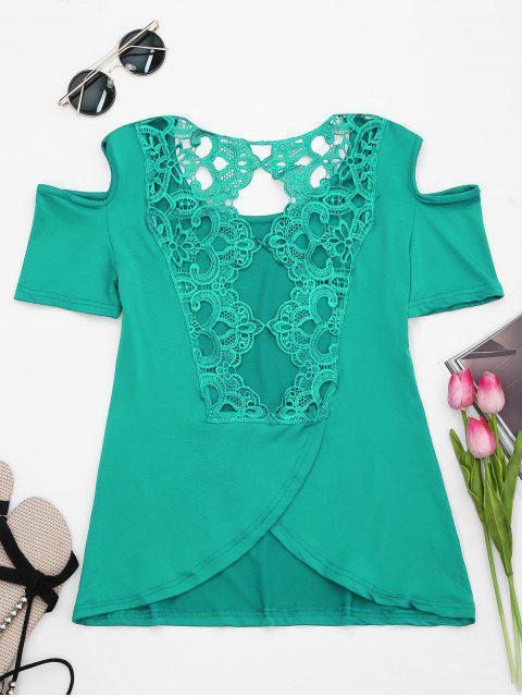 latest Lace Back Cold Shoulder T-shirt - GREEN 2XL Mobile