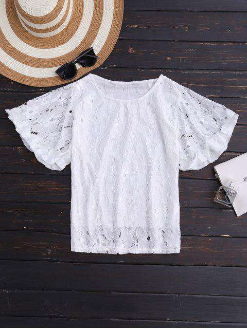 latest Flutter Sleeve Floral Lace Top - WHITE ONE SIZE Mobile