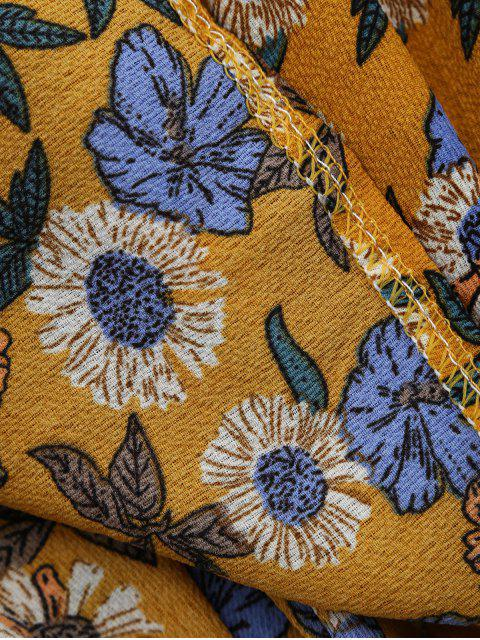 womens Front Strap Floral Sundress - YELLOW OCHER M Mobile