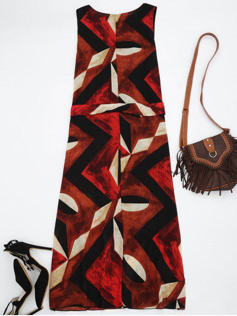 outfit Midi Chiffon Geo Print Sundress - RED L Mobile
