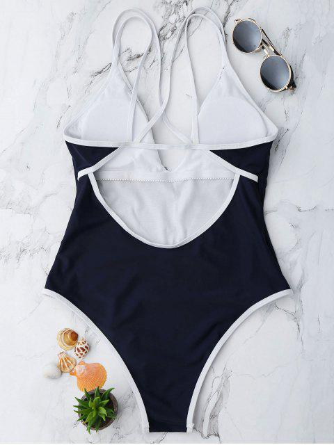 shop Contrast Piping Strappy High Cut Swimsuit - PURPLISH BLUE S Mobile