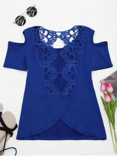 unique Lace Back Cold Shoulder T-shirt - BLUE M Mobile