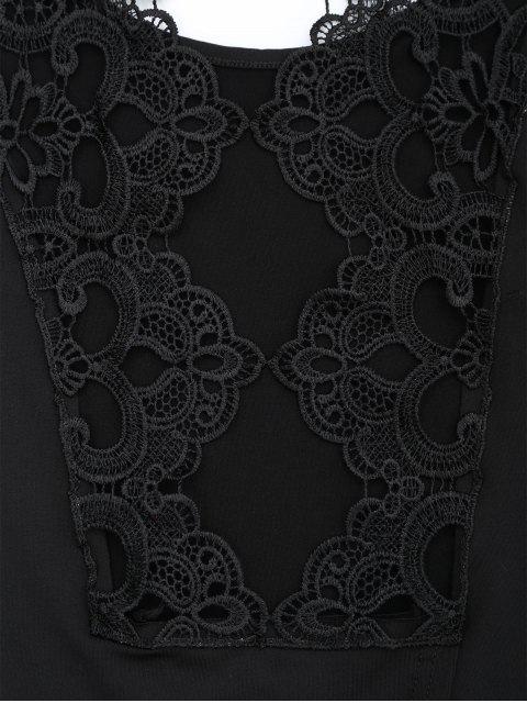 T-shirt à épaule à dos en dentelle - Noir 2XL Mobile