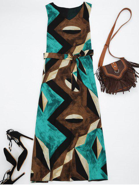 lady Midi Chiffon Geo Print Sundress - GREEN XL Mobile
