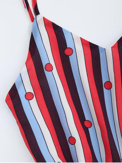ladies Chiffon Striped Midi Sundress - MULTICOLOR S Mobile