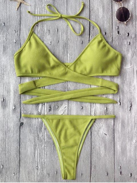 Ensemble Bikini Coupe Haute Texturé Enroulé -  Bleuâtre Jaune S Mobile