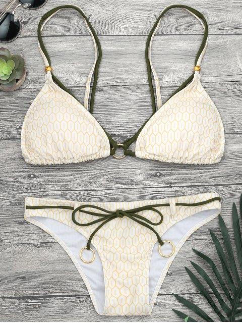 Ensemble de bikini à bretelle imprimé mosaïque avec anneau - Jaune S Mobile