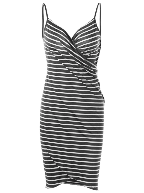 sale Striped Open Back Multiway Wrap Cover-ups Dress - GRAY XL Mobile