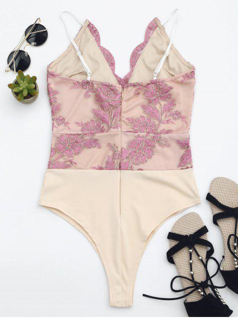 ladies High Cut Embroidered One Piece Swimsuit - PINK S Mobile