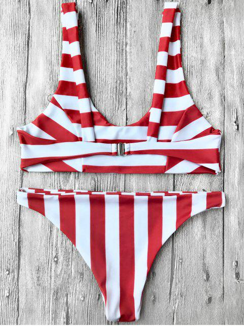 chic Striped Scoop Bikini Top and Bottoms - RED WITH WHITE S Mobile
