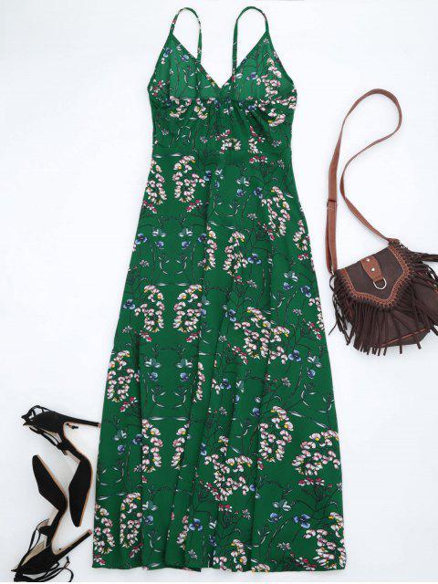 Robe de Plage Maxi à Bretelles à Imprimé Floral - Vert M Mobile