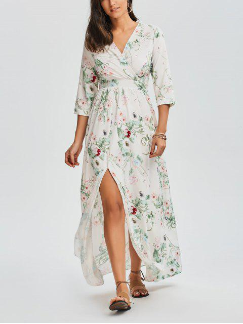 hot Floral V Neck Slit Maxi Dress - FLORAL L Mobile
