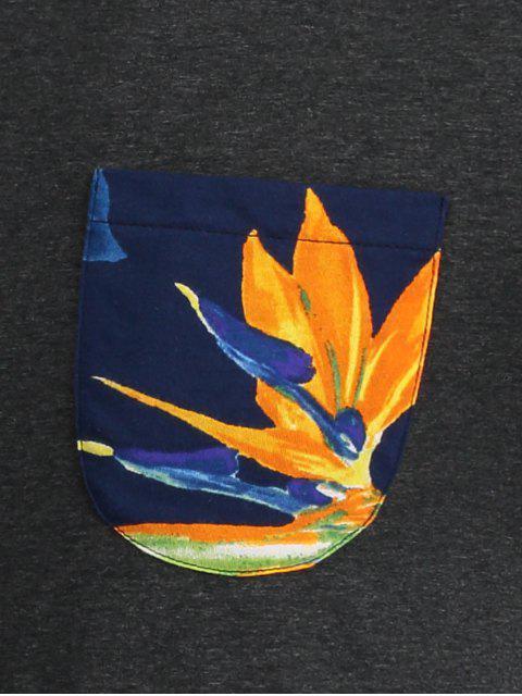 new Floral Print Pocket Tee - DEEP GRAY M Mobile